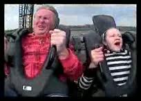 亲爹坐过山车吐了女儿一脸