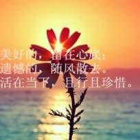 ①当你知道了面子是最不重要的东西时,你便真的长大;②美好的,留在心底,遗憾的,随风散去,活在当下,且行且珍惜;③真正的幸福,不是活成别人那样,而是能够按照自己的意愿,去生活;④不忘初心,方得始终!清晨,送给自己4句话,带着美好的心情出发!爱心