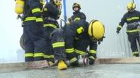 消防官兵零下15度严寒天气实战训练