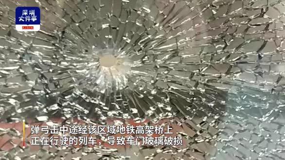 """深圳一男子玩大了!弹弓打鸟""""误伤""""地铁,列车停运车门玻璃损毁"""